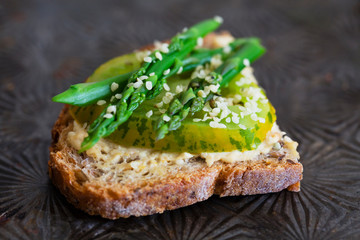 Green Tomato and Asparagus on Toast