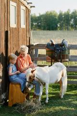 Family day at horse farm