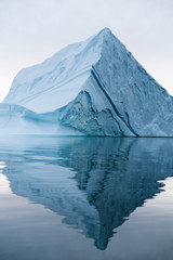 Icebergs floating in the arctic close to greenland