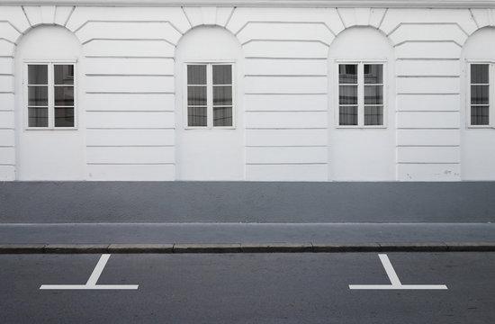 Empty parking lot street road side view