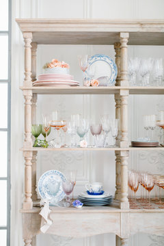 Cupboard with various kitchenware
