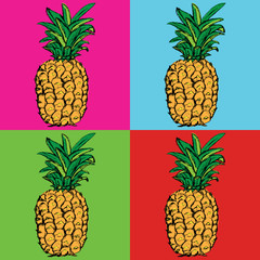 Pineapple. Exotic tropical fruit. Sketch. Pattern