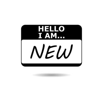 Black Hello I Am, black card icon or logo