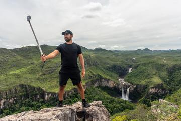 Man taking selfie, Chapada dos Veadeiros, Goias, Brazil