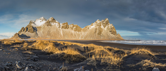 Vestrahorn mountains with dramatic sky with clouds, Iceland