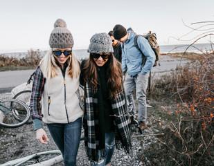 Group of friends during hike, Portland, Maine, USA
