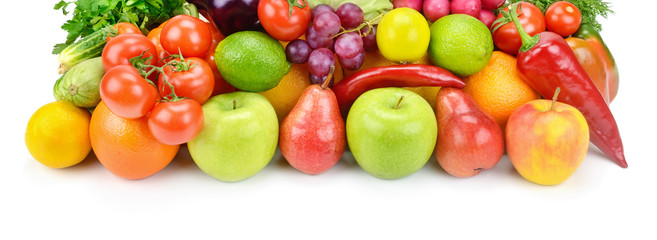 Fruits and vegetables isolated on a white background. Wide photo .
