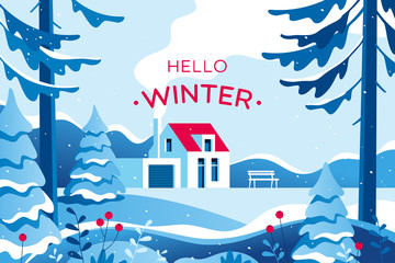 Winter landscape with house. Vector illustration.
