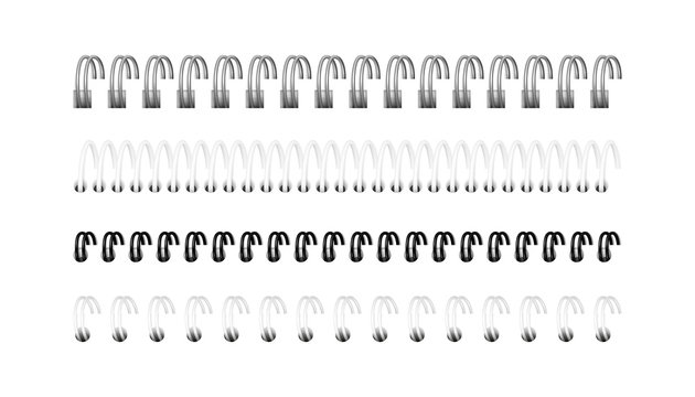 Vector set of realistic images (layout, mockup) of silver, black and white spirals for notebook, calendar, drawing album: a perspective view. The image was created using gradient mesh. EPS 10.
