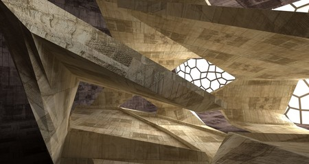Abstract white and concrete interior. 3D illustration and rendering.