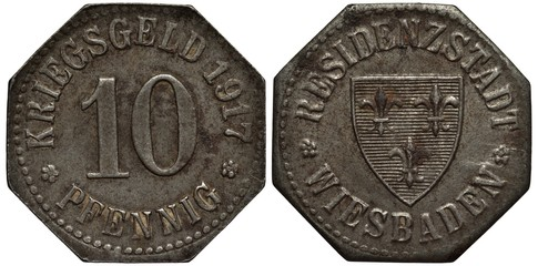 Germany German City of Wiesbaden iron coin 10 ten pfennig, 1917, emergency World War I issue, value flanked by rosettes, shield with three heraldic lilies, octagonal shape,