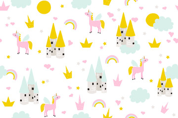 Cute baby seamless pattern with castle and magic unicorn for wallpaper border or textile. Vector hand drawn illustration.