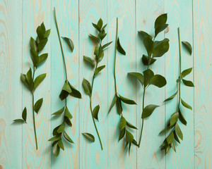 Decorated with green leaves and twigs wooden background