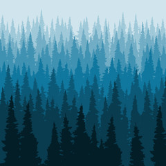 Vector Coniferous forest background, pine trees silhouette template.