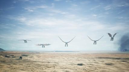 Dragons flying over vast desert. 3D Rendering