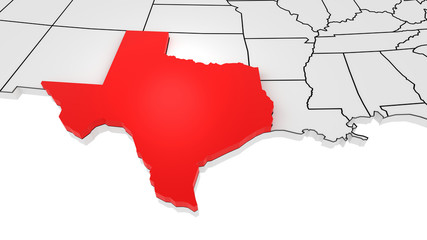 Texas state highlighted in red on 3D map of the United States
