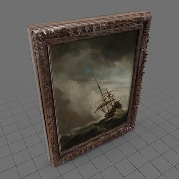 Framed painting of a ship