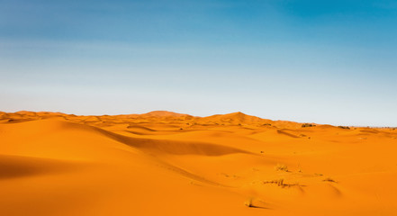 Majestic beautiful scene of Merzouga dunes of Sahara desert Morocco