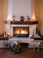 Cozy fireside at home