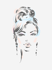 Beautiful woman wearing earrings. Vector illustration eps 10