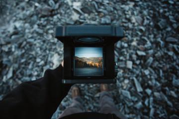 Waist level viewfinder of medium format camera.