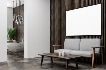 Dark wooden bathroom corner, poster, sofa