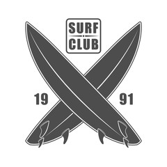 Surf wear typography emblem. Creative surfing t-shirt graphic design. California surfers print stamp in monochrome style isolated vector