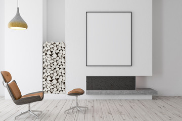 White fireplace with brown armchair, poster