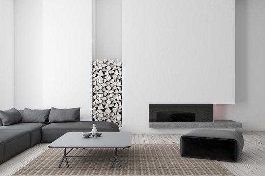 White living room, gray sofa
