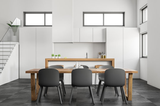 White kitchen and dining room close up