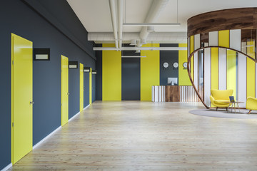 Yellow and gray reception hall