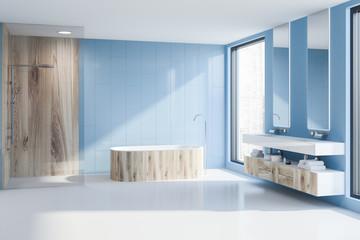 Blue bathroom tub, shower and sink