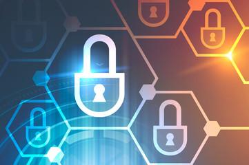 Hexagonal cyber security concept, hud