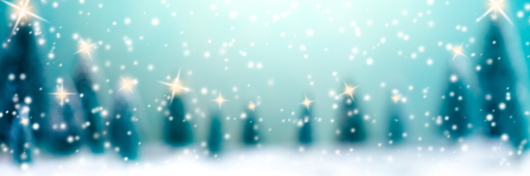 Abstract Background With Trees, Lights And Falling Snow /Christmas And New Year Concept