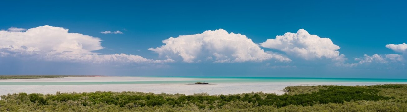 Panoramic view of tropical storm clouds on the horizon