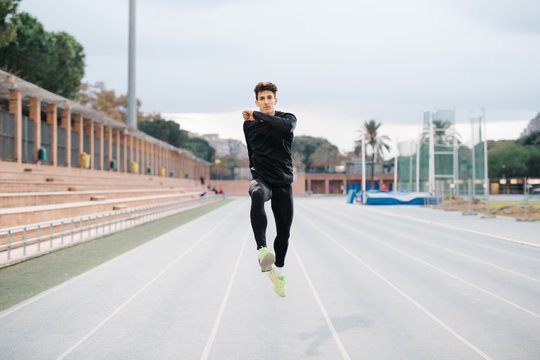 Man jumping while running