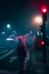 foggy night colors in blue and pink