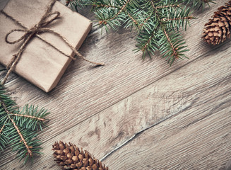 background for Christmas. New year tree with gifts, holiday decoration on dark wooden board. New Year and Christmas background. Holiday concept. Copy space
