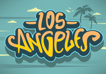 Los Angeles California  Label Sign  Logo Hand Drawn Lettering Modern Calligraphy for t shirt or sticker Vector Image