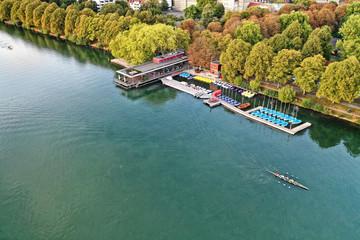 Hannover Maschsee Herbst farbenfroh Luftbild