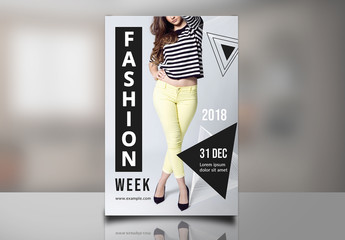 Fashion Photo Flyer Layout with Geometric Elements