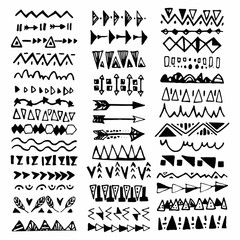 Fototapeta Collection of handdrawn borders in ethnic style. Aztec art dividers.Ink borders. Vector dividers. obraz