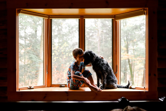 little boy sitting in a bay window with his black dog