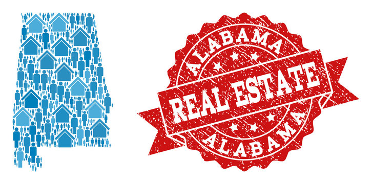 Real Estate collage of blue mosaic map of Alabama State and grunge seal stamp. Vector red imprint with scratched rubber texture. Mosaic map of Alabama State constructed with properties and men.