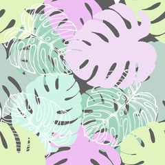 Seamless pattern of hand drawn sketch style tropical plants. Vector illustration.