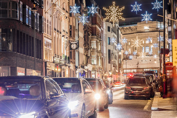 New Bond street decorated for Christmas, London