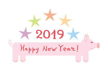 Cartoon pig with the inscription Happy new year. From above asterisks and figure 2019. Year of the pig on chinese horoscope. Vector graphics.