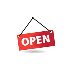 Open Store Sign for Shop. Simple sign in red color.