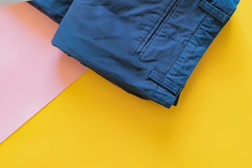 top view of minimalist trousers pants flat lay with copy space f