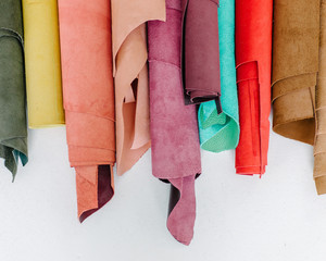 Pile of colorful fabric leather